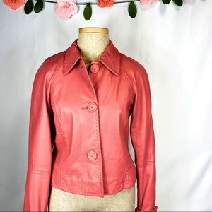 Pink Leather Jacket with Stitching Cuffed Sleeves